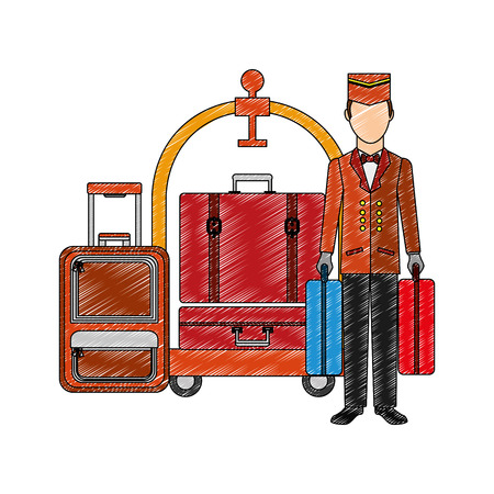 bellboy hotel worker with cart hotel and suitcases isolated icon vector illustration design Illustration