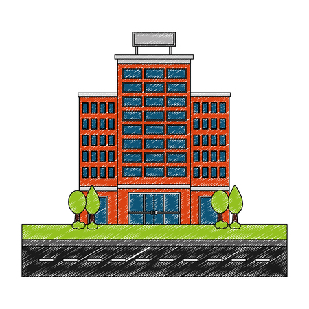 building hotel with trees plant and road isolated icon vector illustration design