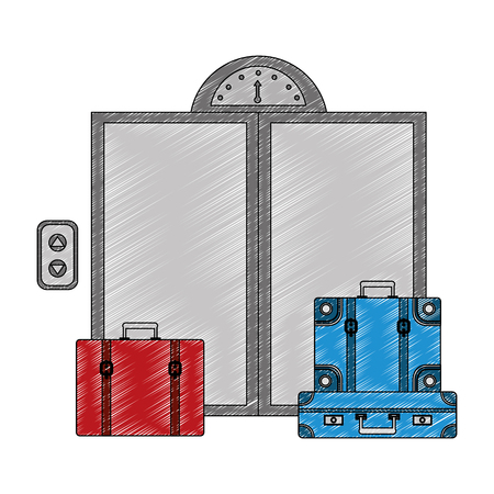 door of elevator with suitcases isolated icon vector illustration design