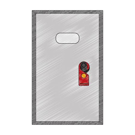 door with label hanging isolated icon vector illustration design