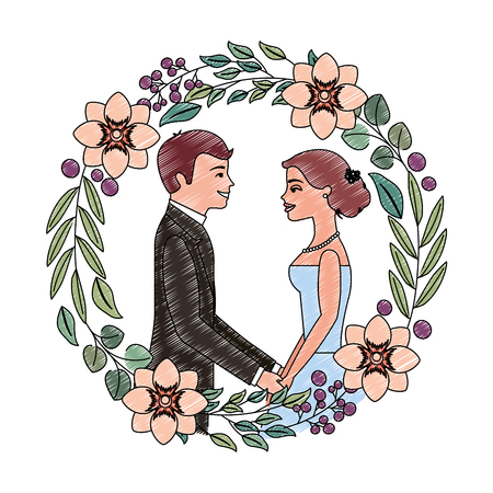 married couple avatar and crown with beautiful flowers vector illustration design Иллюстрация