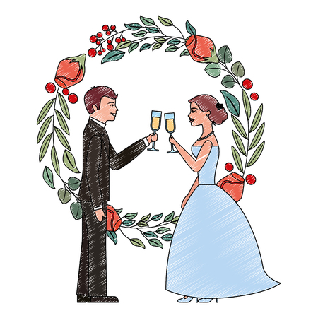 married couple and crown with beauty rose flower vector illustration design Иллюстрация