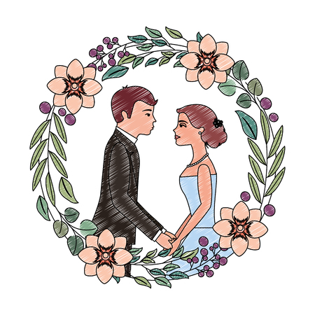 married couple avatar and crown with beautiful flowers vector illustration design Illustration