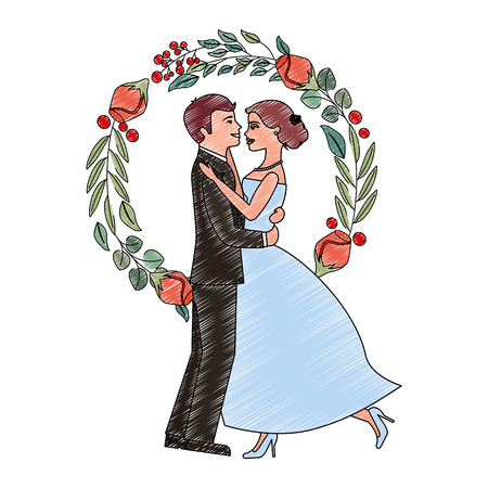married couple dancing and crown with rose flower vector illustration design