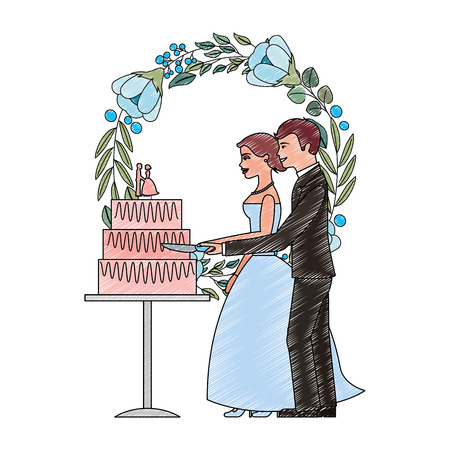 married couple and crown with beautiful flowers vector illustration design Иллюстрация