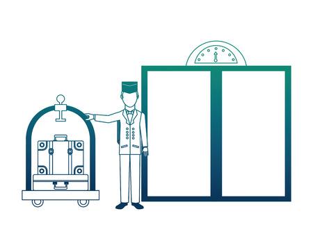 hotel bellboy and luggage trolley suitcase elevator doors vector illustration neon design