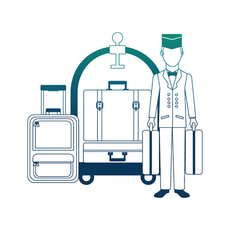 hotel bellboy carrying suitcases and luggage trolley vector illustration neon design