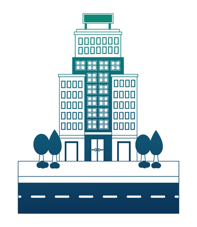 hotel buildings accommodation trees street vector illustration neon design Banco de Imagens - 114994929