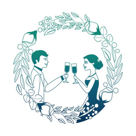 couple toasting celebrating wedding day in flowers frame vector illustration neon design Illustration