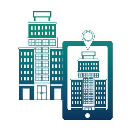 smartphone hotel building pointer map location vector illustration neon design