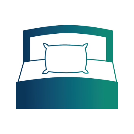 wooden bed pillow and blanket front view vector illustration neon design