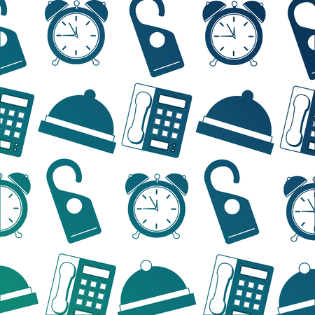hotel bell clock alarm telephone and do not disturb tag background vector illustration neon design