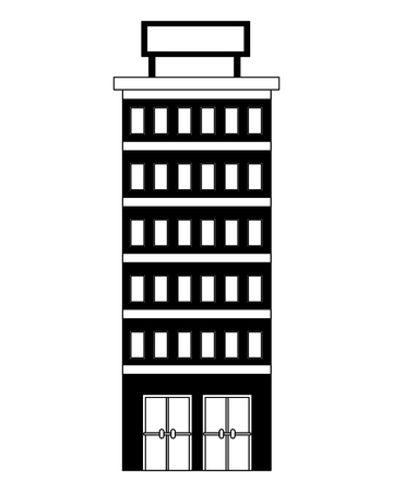 hotel building with placard on roof vector illustration Imagens - 104523668