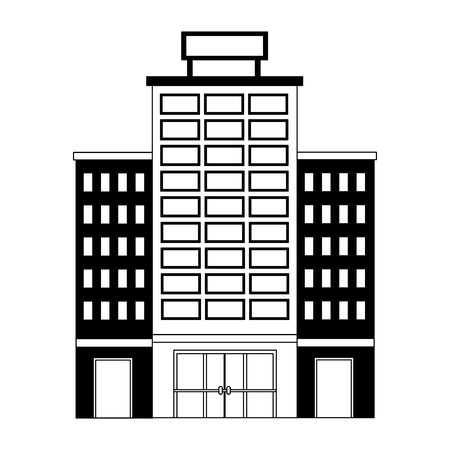 hotel building with placard on roof vector illustration 向量圖像