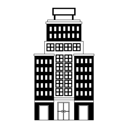 hotel building with placard on roof vector illustration Иллюстрация