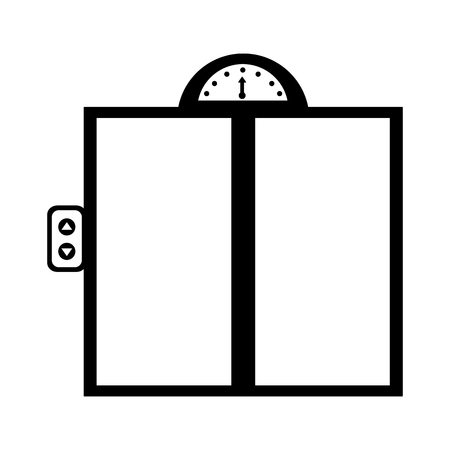 metal office building elevator doors vector illustration Иллюстрация