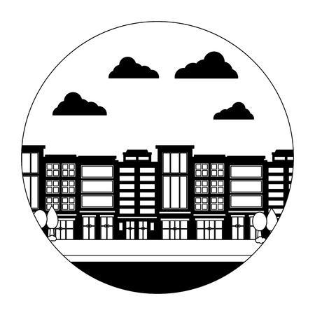 bâtiments de la ville architecture urbaine rue illustration vectorielle Vecteurs