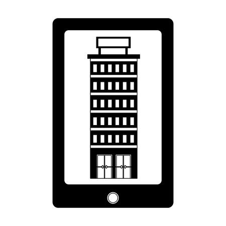 smartphone hotel online application online vector illustration Illusztráció