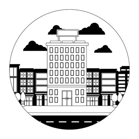 hotel buildings accommodation trees street vector illustration Banco de Imagens - 114994948