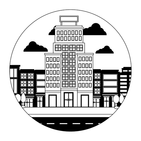 hotel buildings accommodation trees street vector illustration Banco de Imagens - 114994951