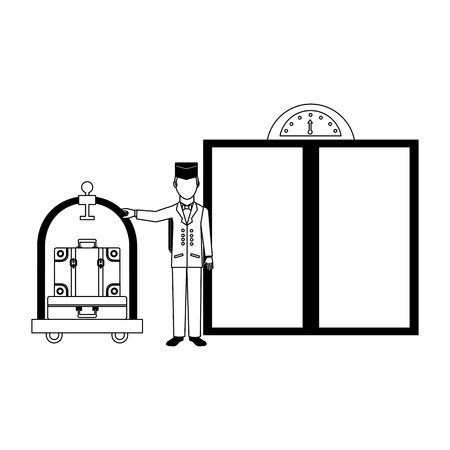 hotel bellboy and luggage trolley suitcase elevator doors vector illustration Banque d'images - 114994952