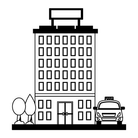 hotel building trees and taxi service vector illustration Banco de Imagens - 104522104