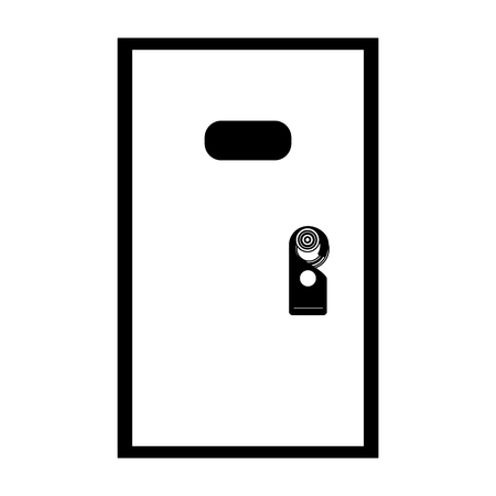 hotel room door with do not disturb tag vector illustration  イラスト・ベクター素材