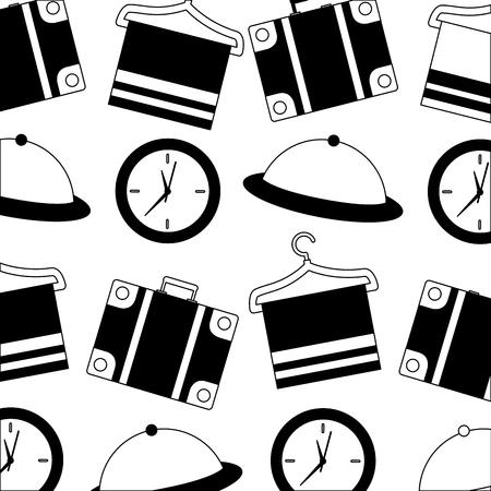 hotel suitcase clock tray and towel hook background vector illustration Banco de Imagens - 114994961