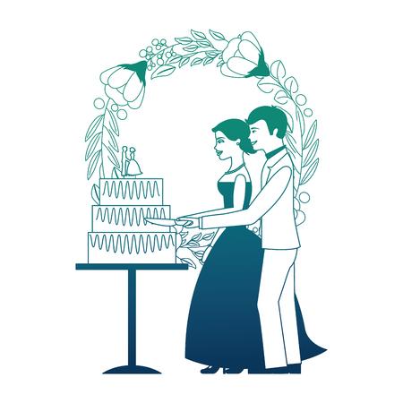 bride and groom cutting wedding cake wreath flowers vector illustration neon design