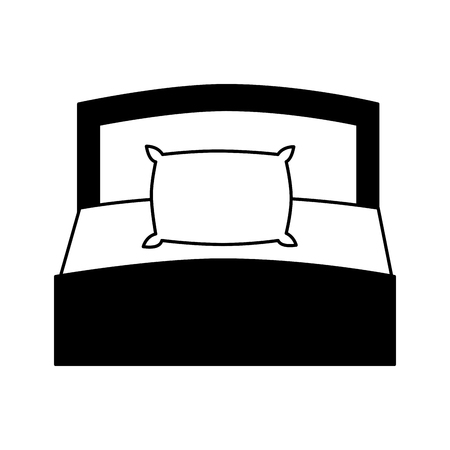 wooden bed pillow and blanket front view vector illustration