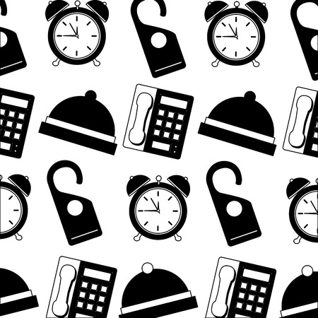 hotel bell clock alarm telephone and do not disturb tag background vector illustration  イラスト・ベクター素材