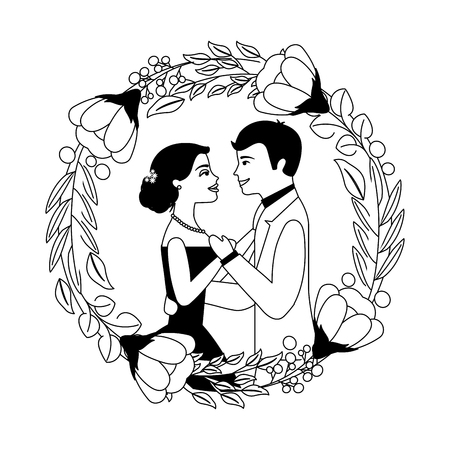 bride and groom their first dance wedding day on frame flowers portrait vector illustration