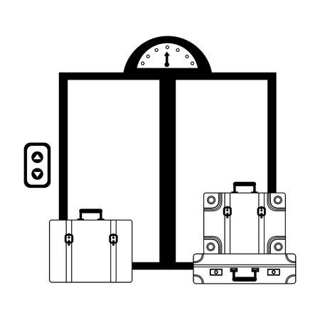 hotel elevator doors and suitcases vector illustration