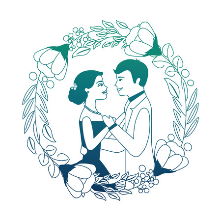 bride and groom their first dance wedding day on frame flowers portrait vector illustration neon design 向量圖像