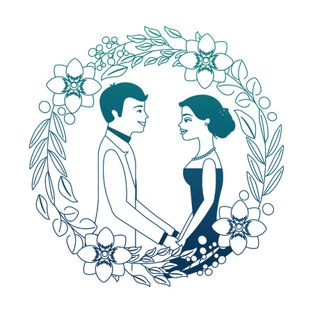 bride and groom their first dance wedding day on frame flowers portrait vector illustration neon design  イラスト・ベクター素材