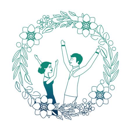 bride and groom celebrating wedding day frame flowers vector illustration neon design