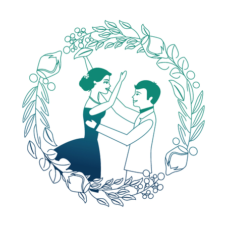bride and groom celebrating wedding day frame flowers vector illustration neon design
