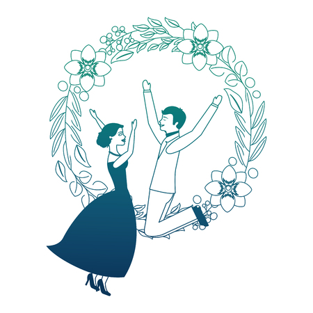 couple wedding day celebrating in wreath flower vector illustration neon design Illustration
