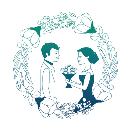 bride with bouquet and groom wedding day in flowers frame vector illustration neon design  イラスト・ベクター素材