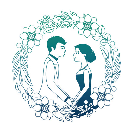 couple wedding day flowers in wreath flowers vector illustration neon design