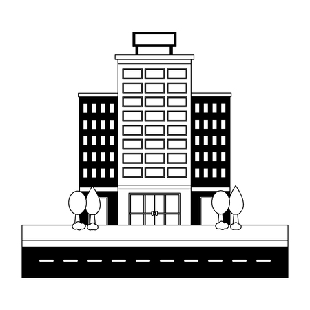 hotel buildings accommodation trees street vector illustration Banco de Imagens - 114994985