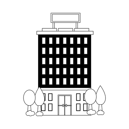 hotel buildings facade accommodation trees vector illustration