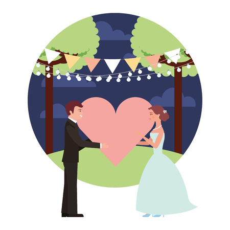 married couple in night landscape with heart isolated icon vector illustration design