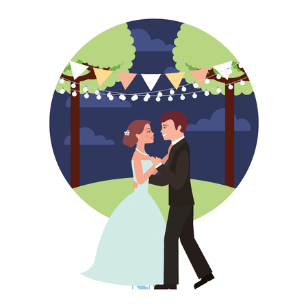 married couple dancing in night landscape isolated icon vector illustration design