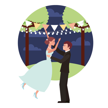 married couple in night landscape celebrating avatar character vector illustration design Фото со стока - 104523016