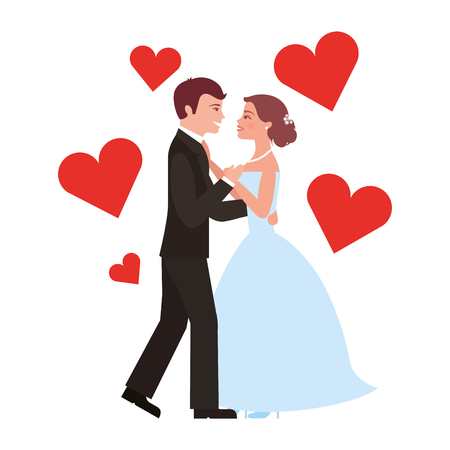 married couple dancing with hearts isolated icon vector illustration design Фото со стока - 104523992