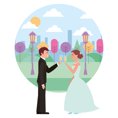 married couple in landscape with cups celebrating avatar character vector illustration design 向量圖像