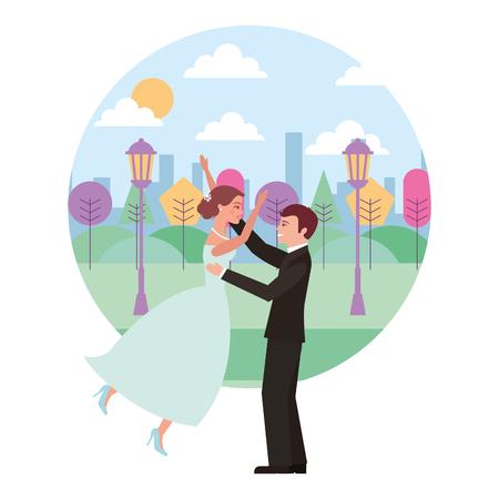married couple celebrating in landscape avatar character vector illustration design