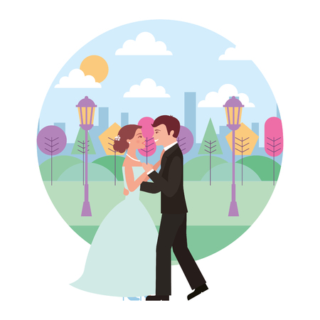 married couple dancing in landscape avatar character vector illustration design