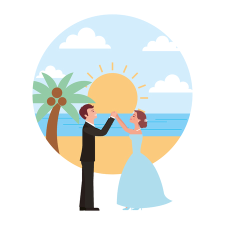 married couple dancing in beach isolated icon vector illustration design Banque d'images - 104523997